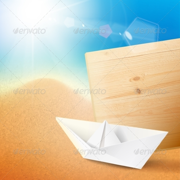 GraphicRiver Vacation Cruise Illustration with Paper Ship 7042360
