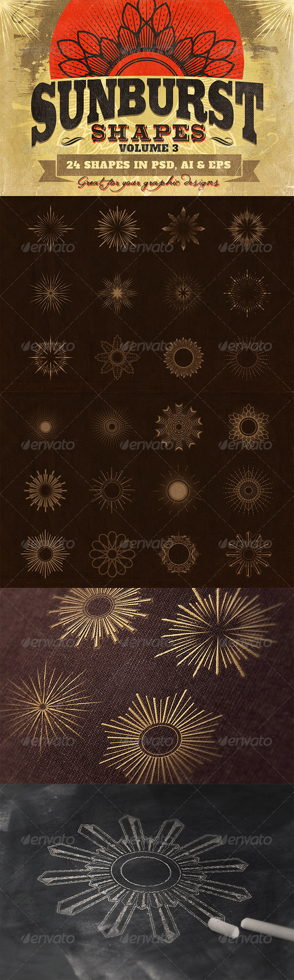 GraphicRiver Sunbursts Shapes Vol.3 7042472