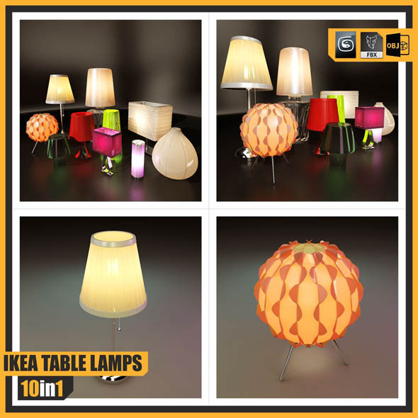 IKEA TABLE LAMPS ::: 10 in 1 - 3DOcean Item for Sale