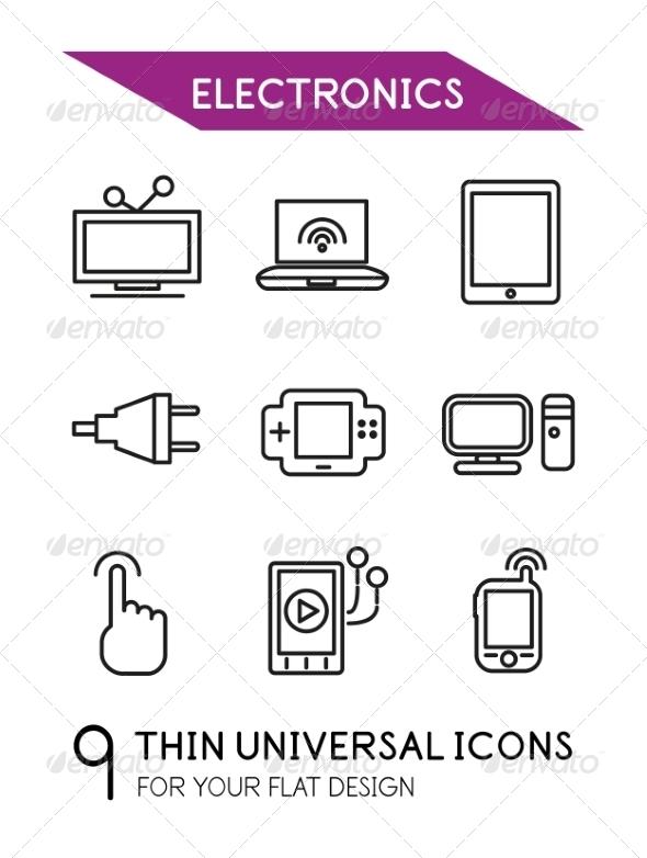 GraphicRiver Electronics Thin Line Icon Set 7042901