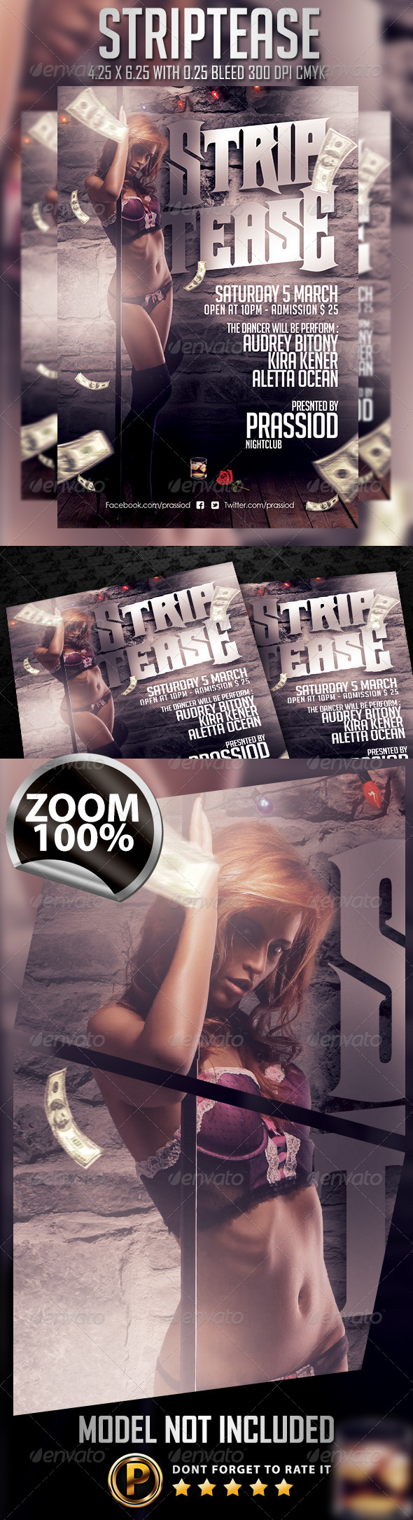 Striptease Flyer Template - Clubs & Parties Events