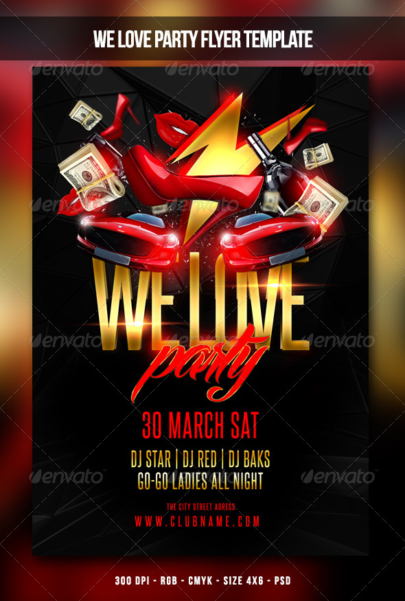 GraphicRiver We Love Party Flyer 7043306