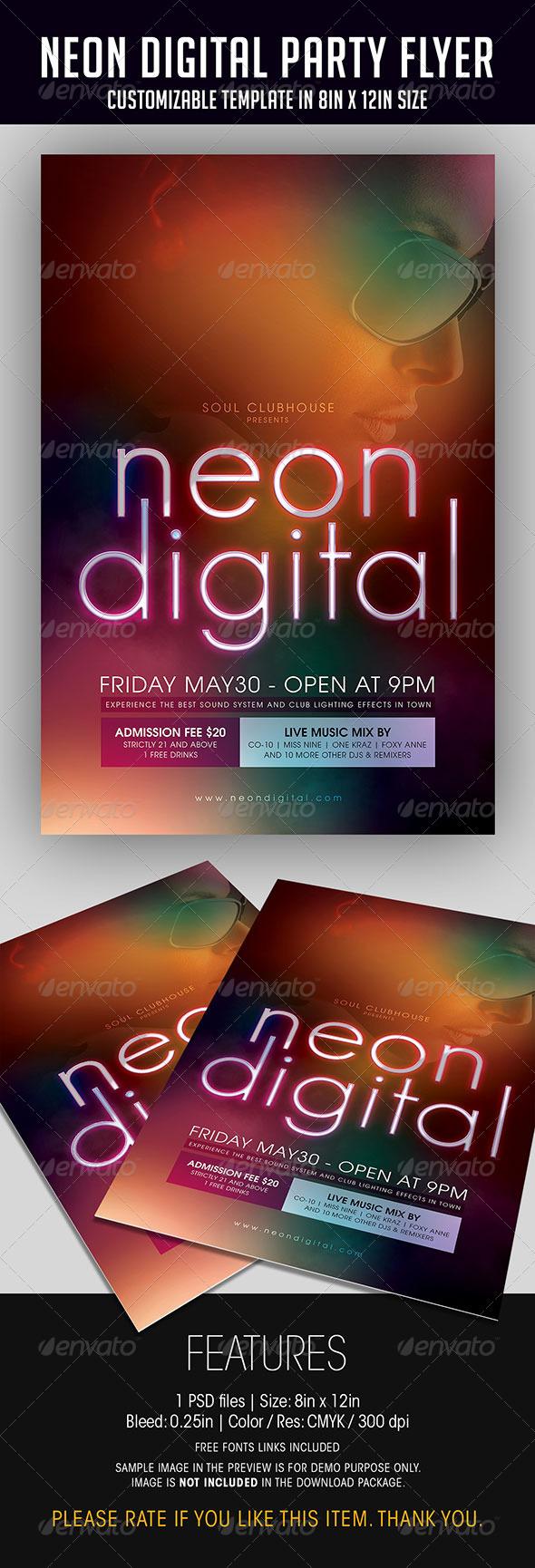 GraphicRiver Neon Digital Party Flyer 7025589