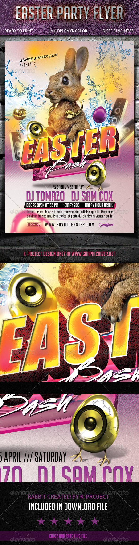 GraphicRiver Easter Party Flyer 7024916