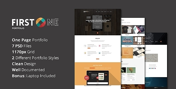 ThemeForest FirstONE One Page Portfolio PSD Template 7043891