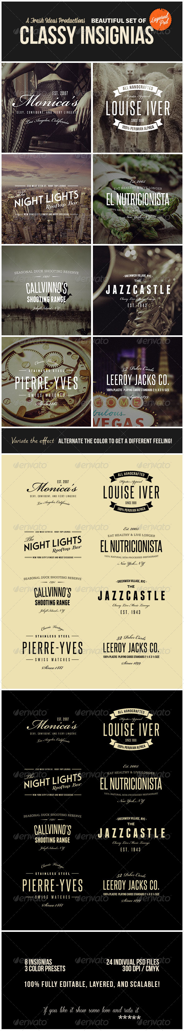 GraphicRiver 8 Classy Insignias Vol.2 7044197