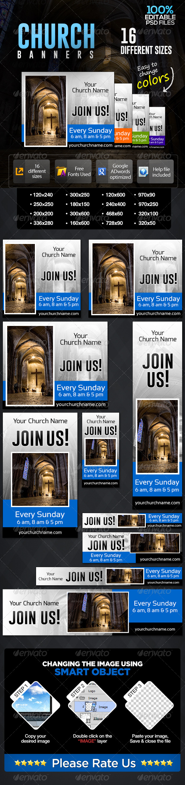 GraphicRiver Church Prayer Time Banners 7044221