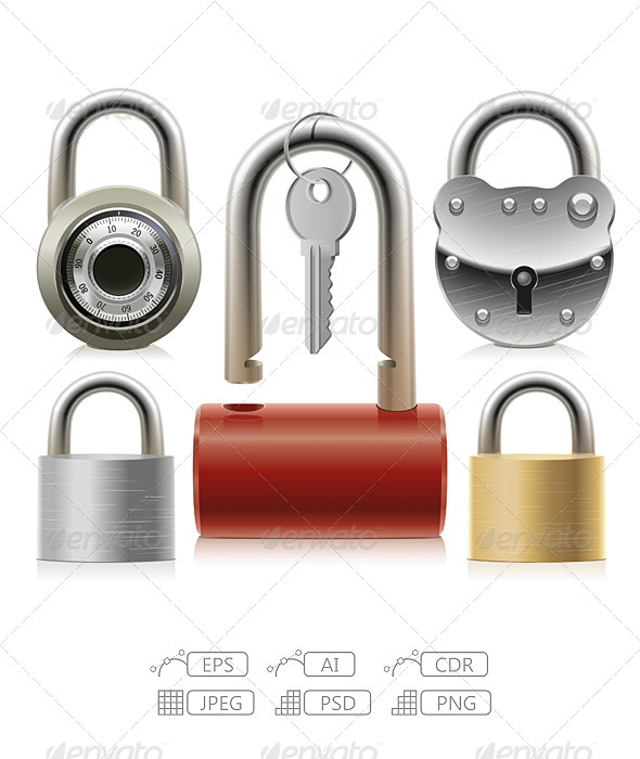 GraphicRiver Set of Padlocks 7044395