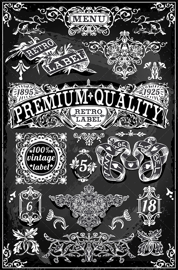 GraphicRiver Vintage Hand Drawn Banners Labels on Blackboard 7044757