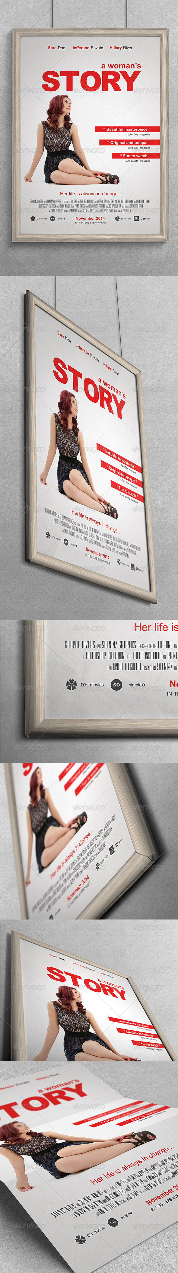 GraphicRiver A Womans Story Movie Poster 7045107