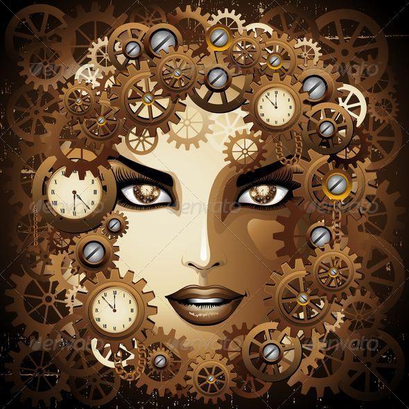 GraphicRiver Steampunk Girl Portrait 7045166