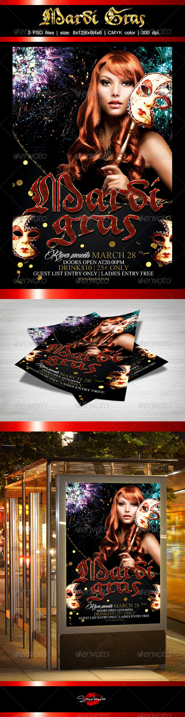 GraphicRiver Mardi Gras Flyer Template 7045730