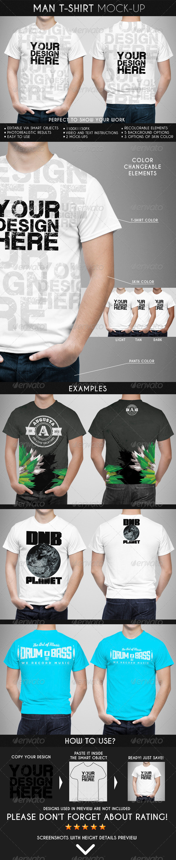 Man T-Shirt Mock-Up - T-shirts Apparel