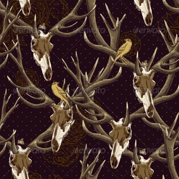 GraphicRiver Deer Skull Pattern 7045862
