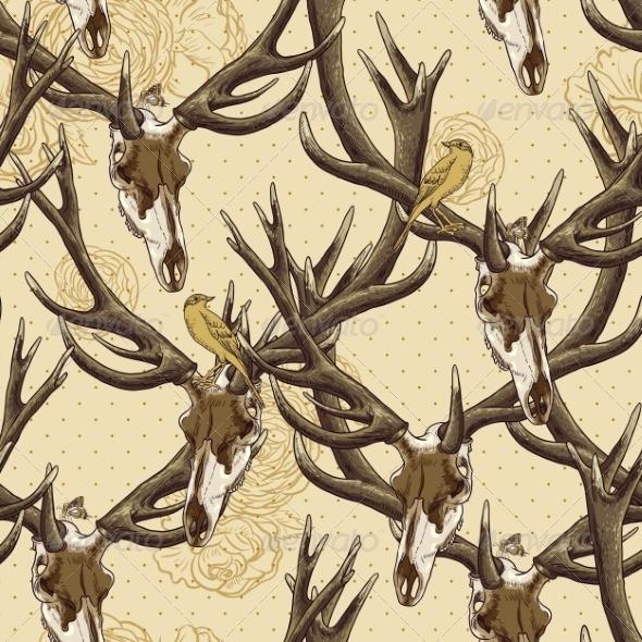 GraphicRiver Deer Skull Pattern 7045885