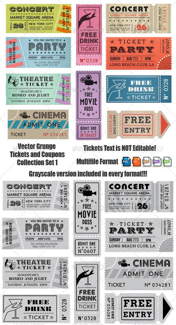 GraphicRiver Vector Crunge Tickets and Coupons 7045945