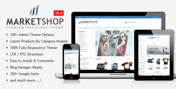 MarketShop is a Multi-Purpose Premium, Responsive OpenCart eCommerce theme with a clean and neat design. It's perfect & corporate layout for any kind
