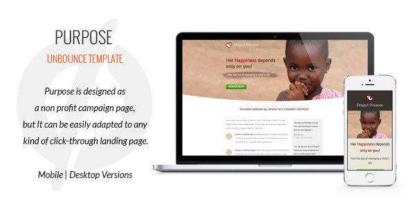 Purpose - Non-Profit Unbounce Template - Unbounce Landing Pages Marketing