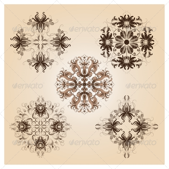 GraphicRiver Set of Vintage Damask Ornaments 7046533
