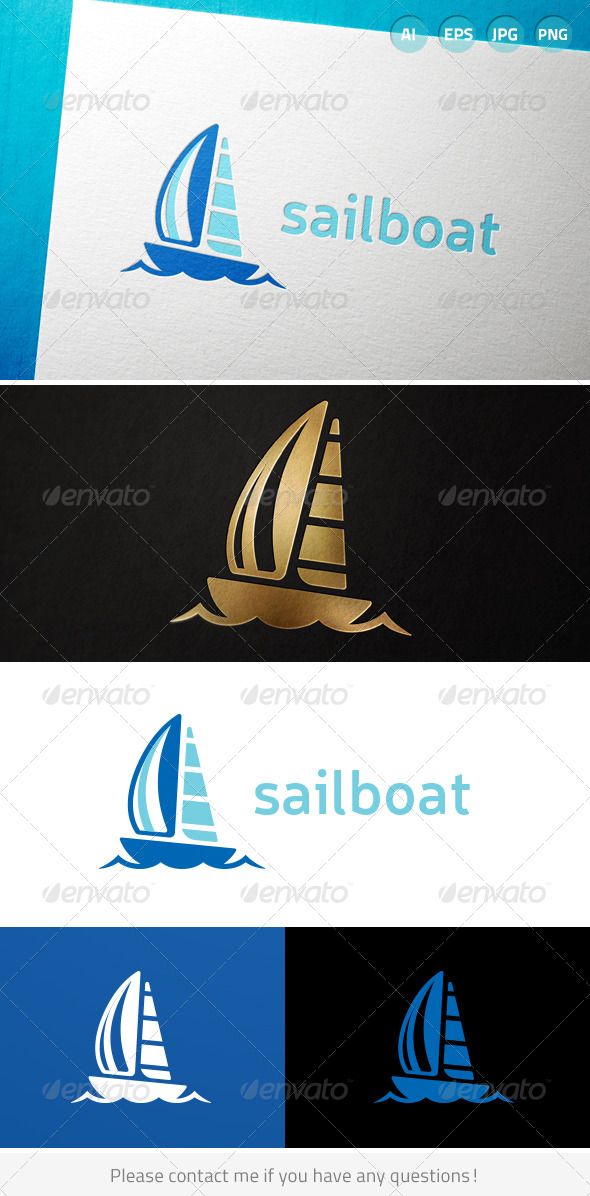 GraphicRiver Sailboat Sailing Ocean Water Logo 7046590