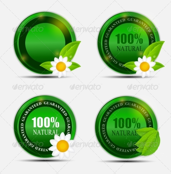 GraphicRiver 100% Natural Green Label Set 7046781
