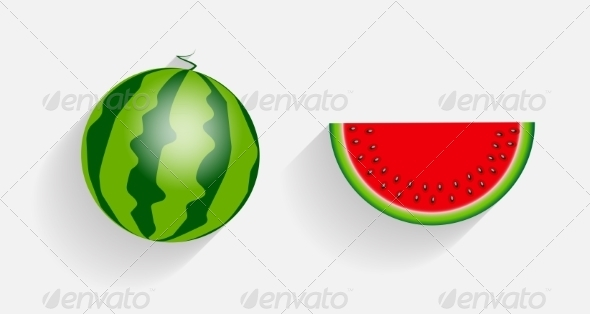 GraphicRiver Watermelon Icons with Long Shadows 7047003