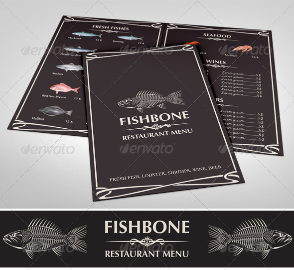 GraphicRiver Fishbone Restaurant Menu 7047090