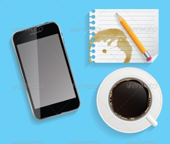 GraphicRiver Coffee Cup with Abstract Tablet 7047099