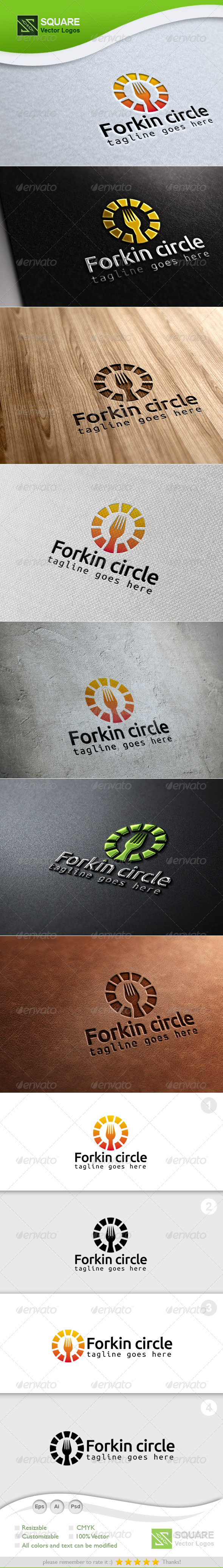 Circle, Fork Vector Logo Template - Food Logo Templates
