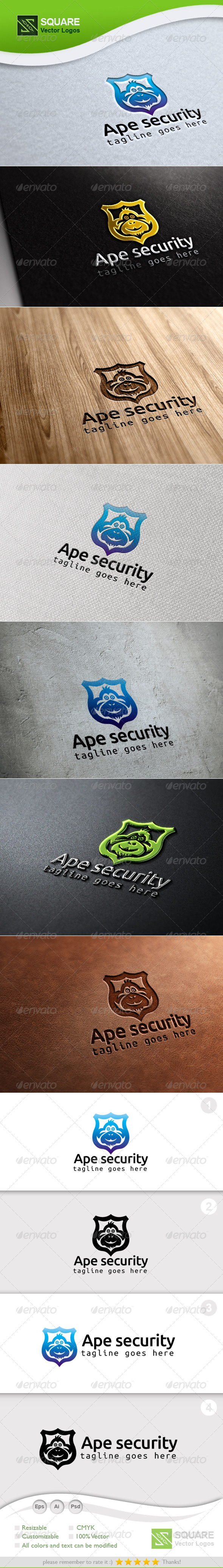 Ape, Shield Vector Logo Template - Animals Logo Templates