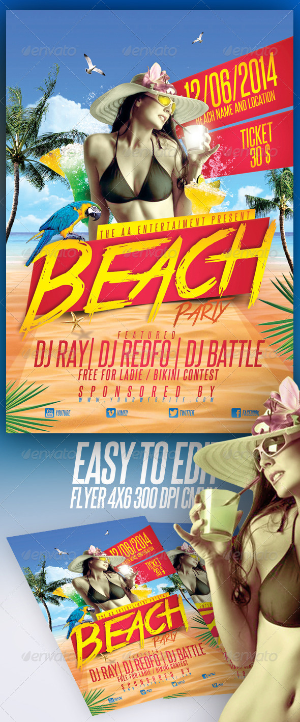 GraphicRiver Beach Party Flyer 7048125