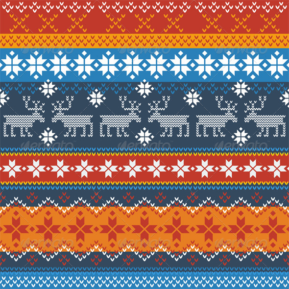 GraphicRiver Traditional Norwegian Pattern with Reindeer 7048199