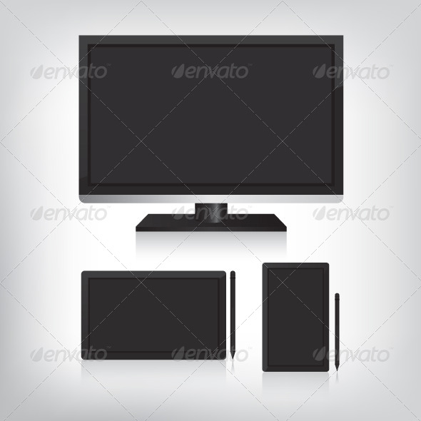 GraphicRiver Tablet Computer and Monitor Illustration 7048216