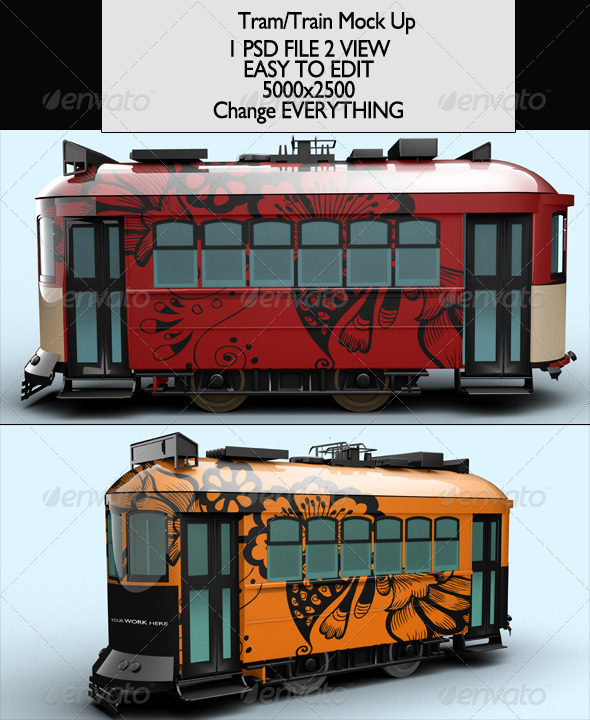 GraphicRiver Tram Train Mock-Up 7048220