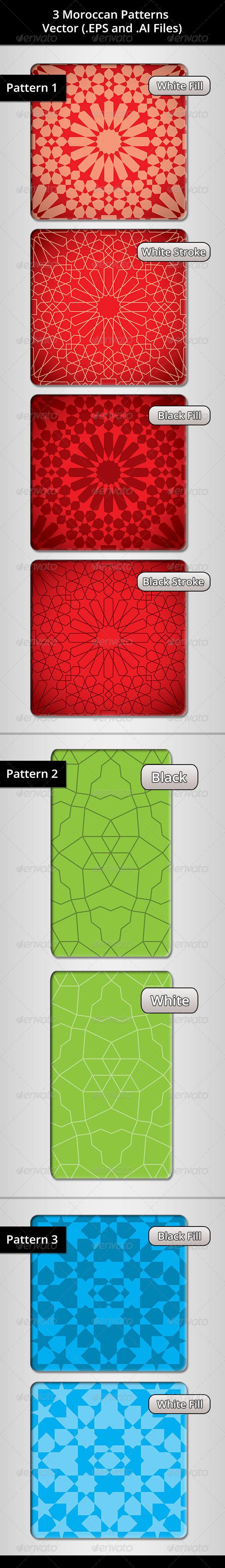 GraphicRiver 3 Moroccan Patterns Bundle 7048284
