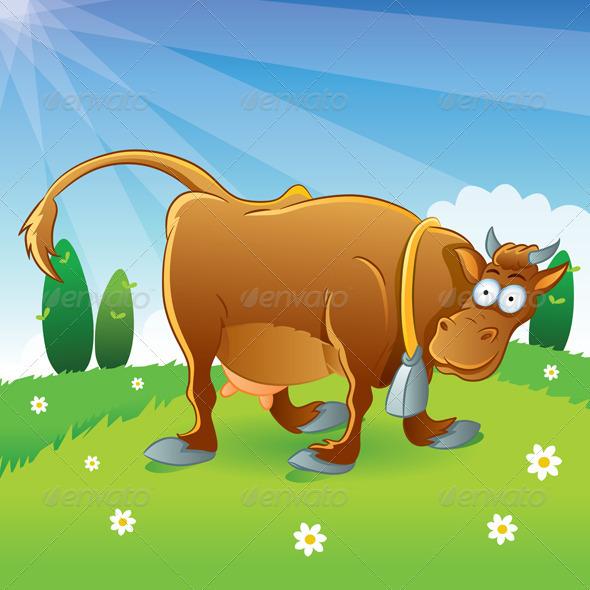 GraphicRiver Cow Illustration Cartoon 733214
