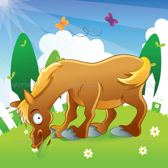 Horse Illustration Cartoon - Animals Characters