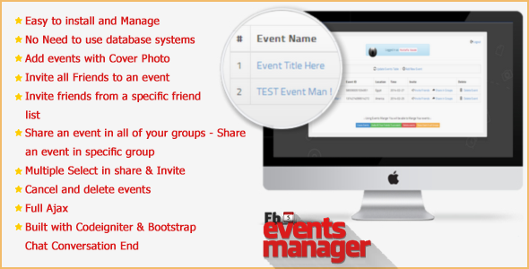 CodeCanyon Facebook Events Manager application 7023360