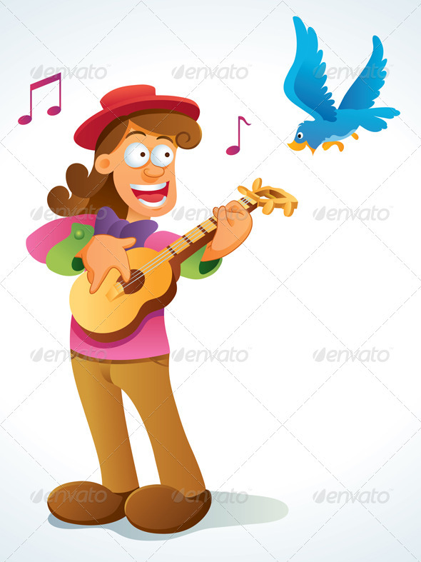 Graphic River Classic Guitar Player Vectors -  Characters  People 735059