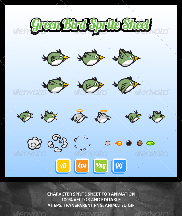 GraphicRiver Green Bird Sprite Sheet 7048346