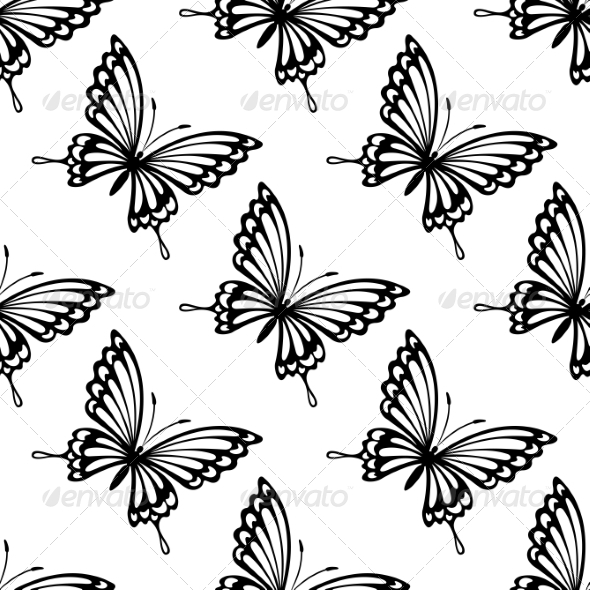 GraphicRiver Seamless Pattern of Flying Butterflies 7048536
