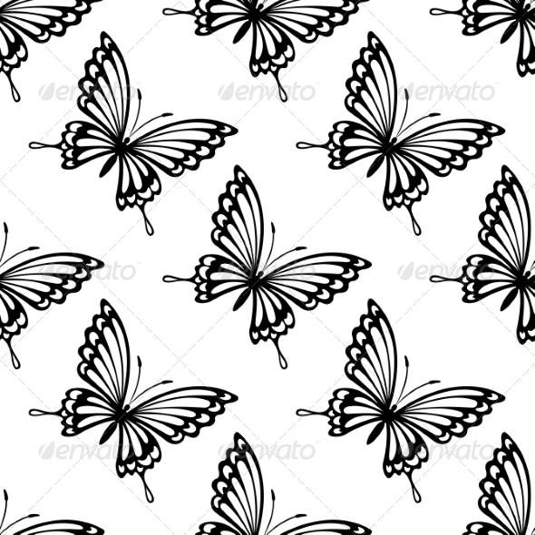 Seamless Pattern of Flying Butterflies