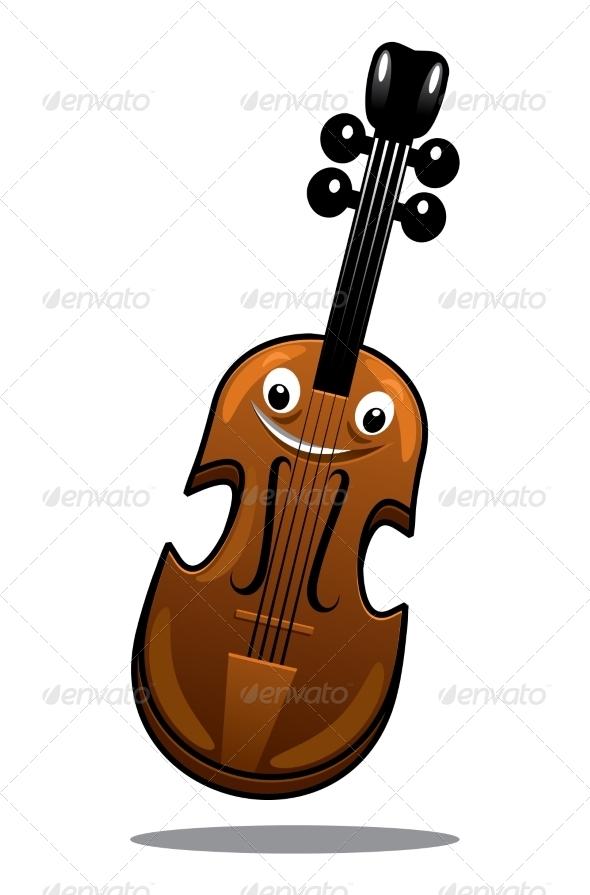 GraphicRiver Happy Brown Cartoon Wooden Violin 7048543