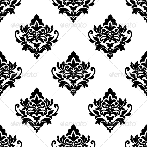 GraphicRiver Black and White Repeat Floral Arabesque Pattern 7048554