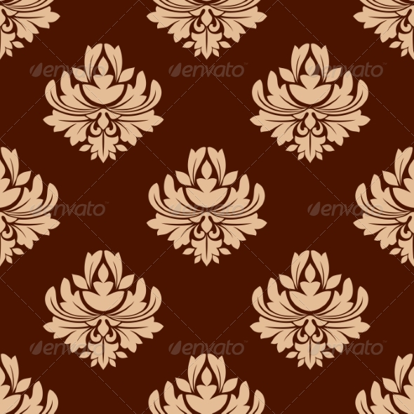 GraphicRiver Brown Floral Seamless Pattern 7049094