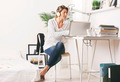 Beautiful mature business woman working with laptop in home. - PhotoDune Item for Sale