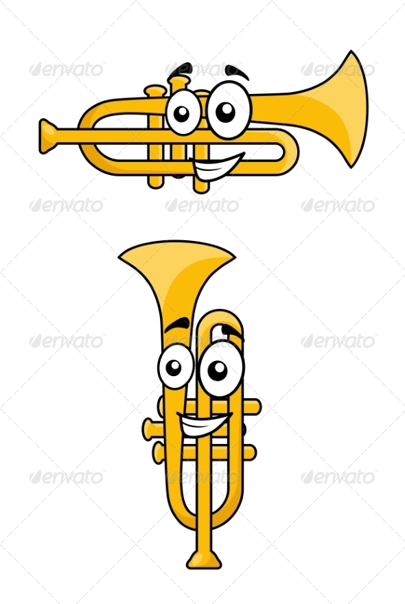 Two Variations of a Cartoon Trumpet - Man-made Objects Objects