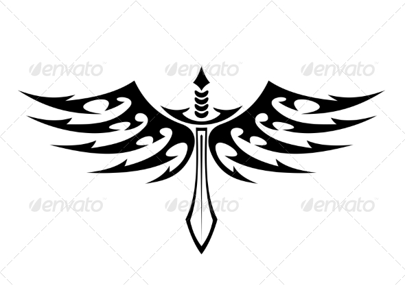 Winged Sword Tattoo with Barbed Feathers - Tattoos Vectors