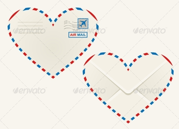 GraphicRiver Heart Shaped Airmail Envelope 7049234