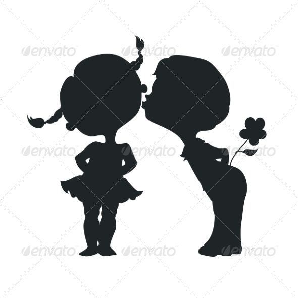 GraphicRiver Silhouettes of Kissing Boy and Girl 7049352